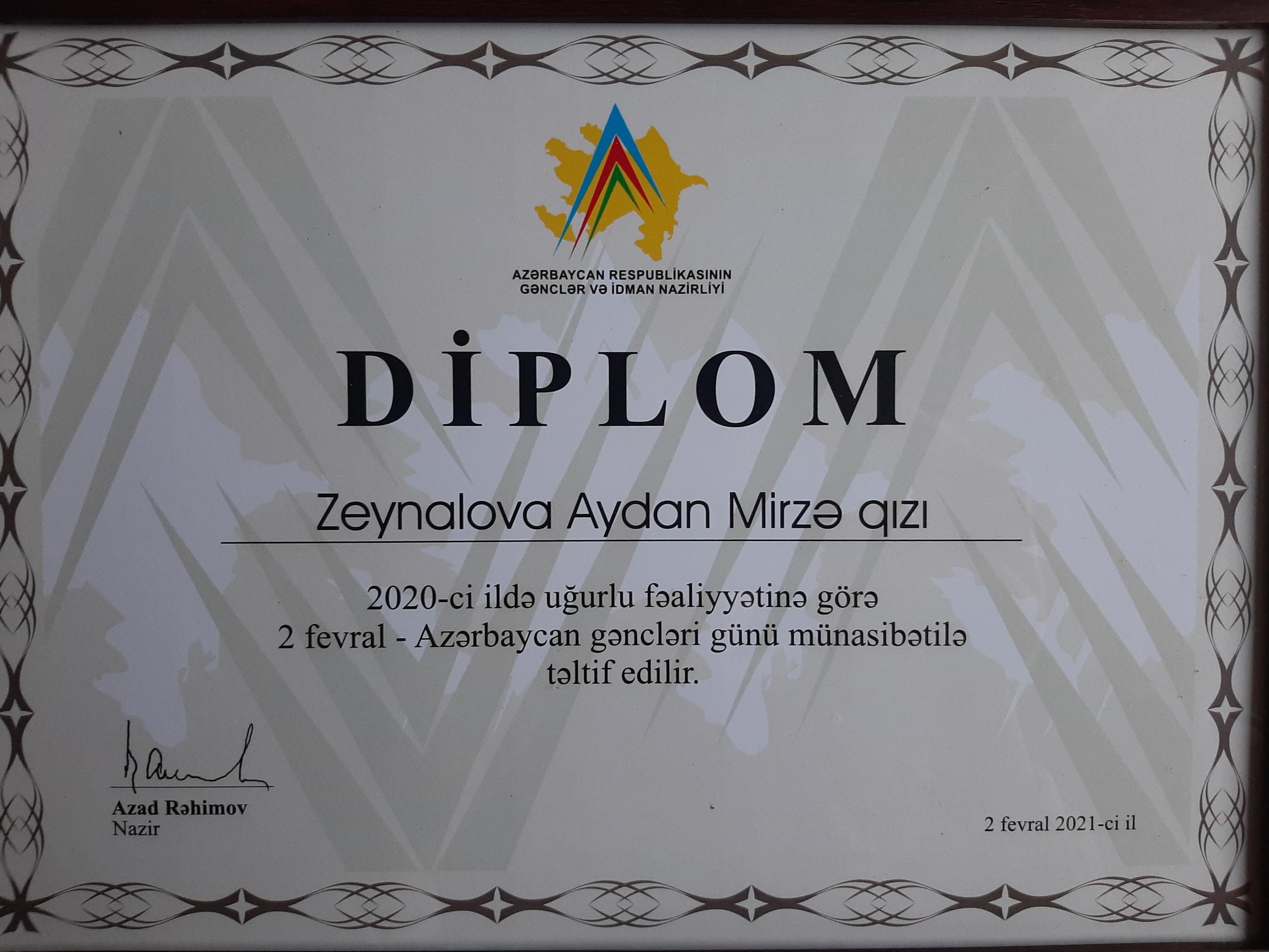 """AMEA Botanika İnstitutunun əməkdaşı """"Gənclər mükafatı""""na layiq görülüb"""