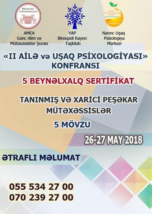 Bakıda II Beynəlxalq ailə və uşaq psixologiyası elmi-praktik konfransı keçiriləcək.