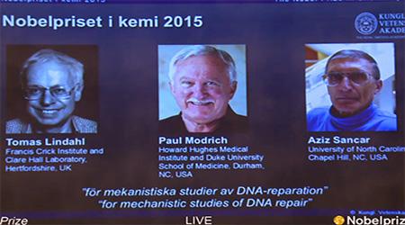 Kimya sahəsində 2015-ci ilin Nobel mükafatına layiq görülən kimyaçı alimlər məlum oldu