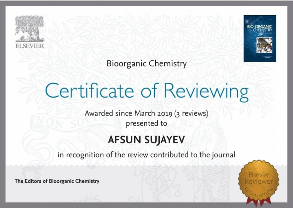 Gənc alimin beynəlxalq ekspert kimi fəaliyyəti sertifikata layiq görülüb