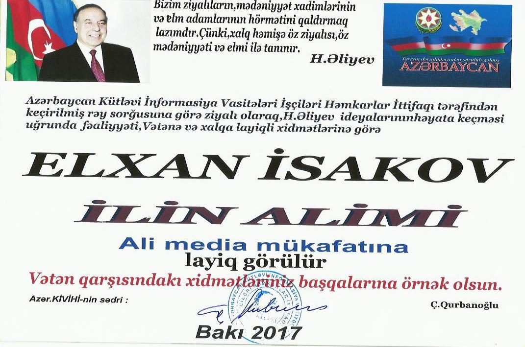 """Kimyaçı alim """"İLİN ALİMİ"""" ali media mükafatı ilə təltif edilib"""