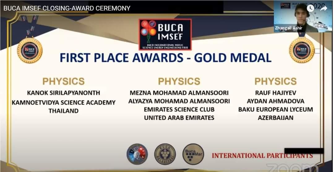 AMEA Radiasiya Problemləri İnstitutunda yerinə yetirilən layihə beynəlxalq olimpiyada da qızıl medal qazanıb